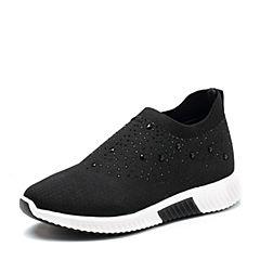 Tata/他她2018春专柜同款黑色水钻编织袜子鞋厚底女休闲鞋FEM24AM8