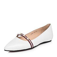 Tata/他她2018春专柜同款白色羊皮珍珠尖头浅口女休闲鞋FV504AQ8