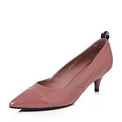 Tata/他她2018春专柜同款暗红漆牛皮通勤尖头酒杯跟女皮鞋FP601AQ8