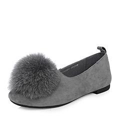 Tata/他她2018春专柜同款灰色羊皮绒毛球方跟女休闲鞋S1301AQ8