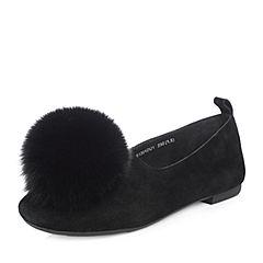 Tata/他她2018春专柜同款黑色羊皮绒毛球方跟女休闲鞋S1301AQ8