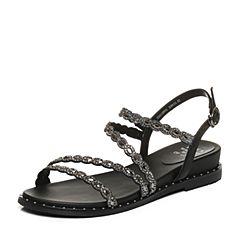 Tata/他她2018夏黑色羊皮拼接布水钻休闲坡跟女凉鞋S2A10BL8