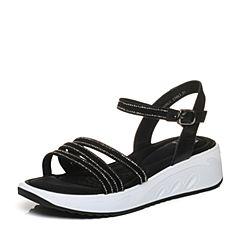 Tata/他她2018夏黑色羊皮水钻一字带休闲坡跟女皮凉鞋S2A08BL8