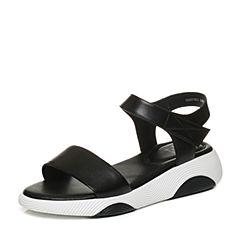 Tata/他她2018夏黑色牛皮一字带学院休闲坡跟女凉鞋S2A07BL8