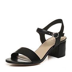 Tata/他她2018夏黑色羊皮通勤简约一字带粗高跟女皮凉鞋S2A06BL8