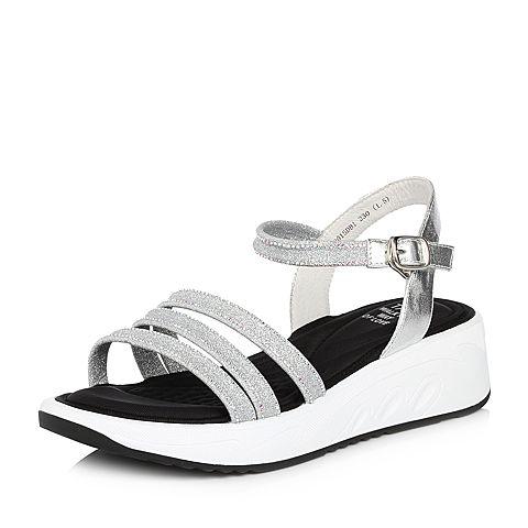 Tata/他她夏专柜同款银色牛皮拼接PU坡跟罗马鞋女凉鞋S2015BL8