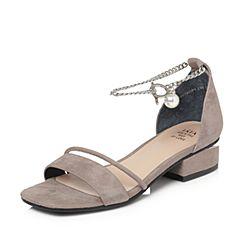 Tata/他她2018夏专柜同款灰色羊皮绒面珍珠金属一字带女皮凉鞋S2018BL8