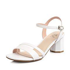 Tata/他她2018夏专柜同款白色牛皮通勤一字带菱形跟女凉鞋S2011BL8
