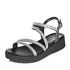 Tata/他她2018夏专柜同款银灰牛皮拼接亮片布罗马鞋坡跟女凉鞋FAF17BL8