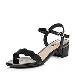 Tata/他她2018夏专柜同款黑色漆牛皮通勤一字带粗跟女皮凉鞋2USC4BL8