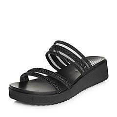 Tata/他她2018夏专柜同款黑色亮片布水钻网纱凉拖坡跟女拖鞋FAF15BT8