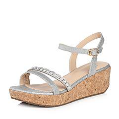 Tata/他她2018夏专柜同款银色亮片布水钻镂空一字带坡跟女凉鞋2X3A4BL8