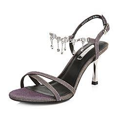 Tata/他她2018夏专柜同款银灰亮线布水钻一字带细高跟女凉鞋2DZF9BL8