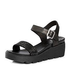Tata/他她2018夏专柜同款黑色牛皮拼接布一字带坡跟女凉鞋FKK05BL8