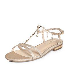 Tata/他她夏专柜同款金色亮片布星星水钻方跟女凉鞋2QVA4BL8