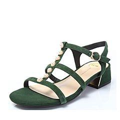 Tata/他她2018夏专柜同款绿色羊皮珍珠罗马鞋粗跟女凉鞋FZ301BL8