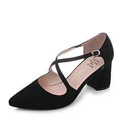 Tata/他她春黑色羊皮絨面尖頭粗高跟女皮涼鞋S1A05AK8