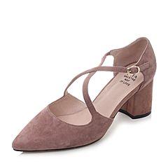 Tata/他她2018春粉色羊皮绒面尖头粗高跟女皮凉鞋S1A05AK8