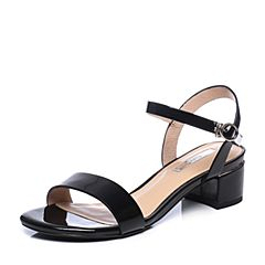 Tata/他她2018夏黑色漆牛皮通勤一字带粗跟女皮凉鞋2USLABL8
