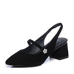 Tata/他她2018春黑色羊皮优雅水钻尖头玛丽珍鞋粗高跟女皮凉鞋S1A17AH8