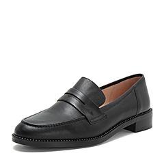 Tata/他她2018秋专柜同款黑色牛皮革水钻乐福鞋通勤女单鞋2BK01CQ8