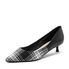 Tata/他她2018秋专柜同款黑/黑白拼接格纹优雅尖头猫跟鞋浅口女鞋FVZ05CQ8