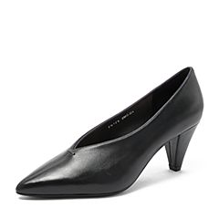 Tata/他她2018秋专柜同款黑色羊皮革尖头锥形跟奶奶鞋高跟女鞋FB7F6CQ8