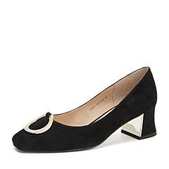Tata/他她2018秋专柜同款黑色羊皮革绒面水钻圆扣方头粗跟浅口女鞋FX903CQ8