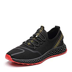 Tata/他她2018秋专柜同款黑色网布织带运动休闲鞋网眼男单鞋S3533CM8