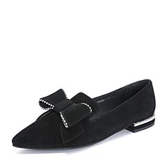 Tata/他她2018秋黑色羊皮革甜美串珠蝴蝶结尖头浅口女鞋S3A32CQ8