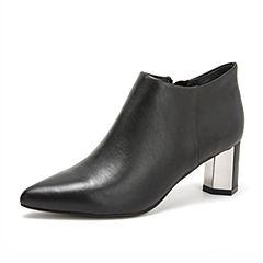 Tata/他她2018秋黑色牛皮革通勤尖头六棱跟踝靴女短靴S3A27CD8