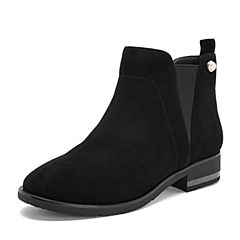 Tata/他她2018秋黑色羊皮革绒面珍珠套脚踝靴方跟女短靴S3A13CD8