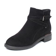 Tata/他她2018冬黑色羊皮革通勤时尚皮带扣方跟女短靴S3A48DD8