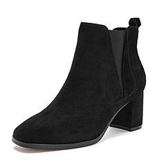 Tata/他她2018冬黑色羊皮革通勤方头套筒粗高跟踝靴女短靴S3A47DD8