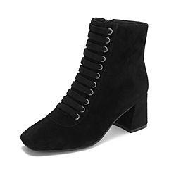 Tata/他她2018秋黑色羊皮革条带方头高跟马丁靴女短靴休闲靴FGPDACD8