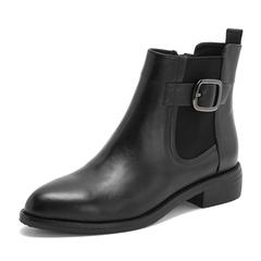 Tata/他她2018冬专柜同款黑色牛皮革通勤皮带扣女短靴FOJ40DD8