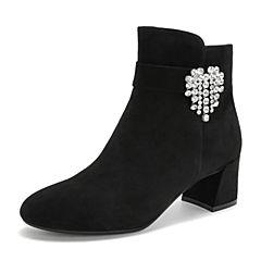 Tata/他她2018冬专柜同款黑色羊皮革绒面水钻高跟女短靴FQ040DD8