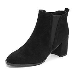 Tata/他她2018冬专柜同款黑色绒面拼接粗高跟踝靴套筒女短靴FON44DD8