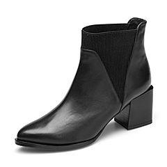 Tata/他她2018冬专柜同款黑色牛皮革尖头套筒粗高跟女短靴2I859DD8