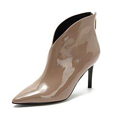 Tata/他她2018冬专柜同款啡灰牛皮革V型口尖头细高跟女短靴FGG40DD8