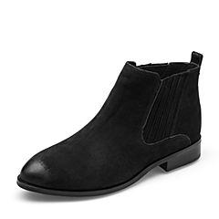 Tata/他她2018冬专柜同款黑色磨砂牛皮革套筒方跟女短靴FHF46DD8