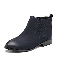 Tata/他她2018冬专柜同款深兰磨砂牛皮革套筒方跟女短靴FHF46DD8