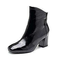Tata/他她2018冬专柜同款黑色牛皮革通勤粗高跟女短靴FWJ41DD8