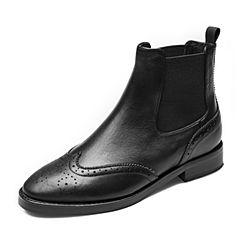 Tata/他她2018冬专柜同款黑色牛皮革通勤套筒切尔西靴女短靴FOZ41DD8