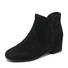 Tata/他她2018冬专柜同款黑色羊皮革绒面女休闲靴时尚短靴2E440DD8