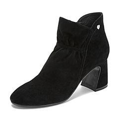 Tata/他她2018冬专柜同款黑色羊皮革绒面高跟踝靴女短靴BJF01DD8