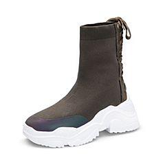 Tata/他她2018冬专柜同款军绿拼接绑带厚底袜靴休闲女中靴BLF01DZ8