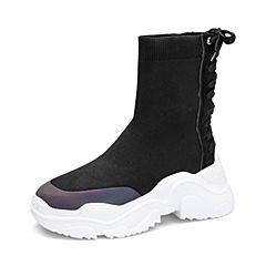 Tata/他她2018冬专柜同款黑色拼接绑带厚底袜靴休闲女中靴BLF01DZ8