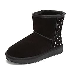 Tata/他她2018冬专柜同款黑色牛剖层革女休闲靴毛里雪地靴BMF02DD8
