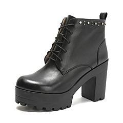 Tata/他她2018冬黑色牛皮革铆钉高跟马丁靴休闲靴女短靴2C1DBDD8